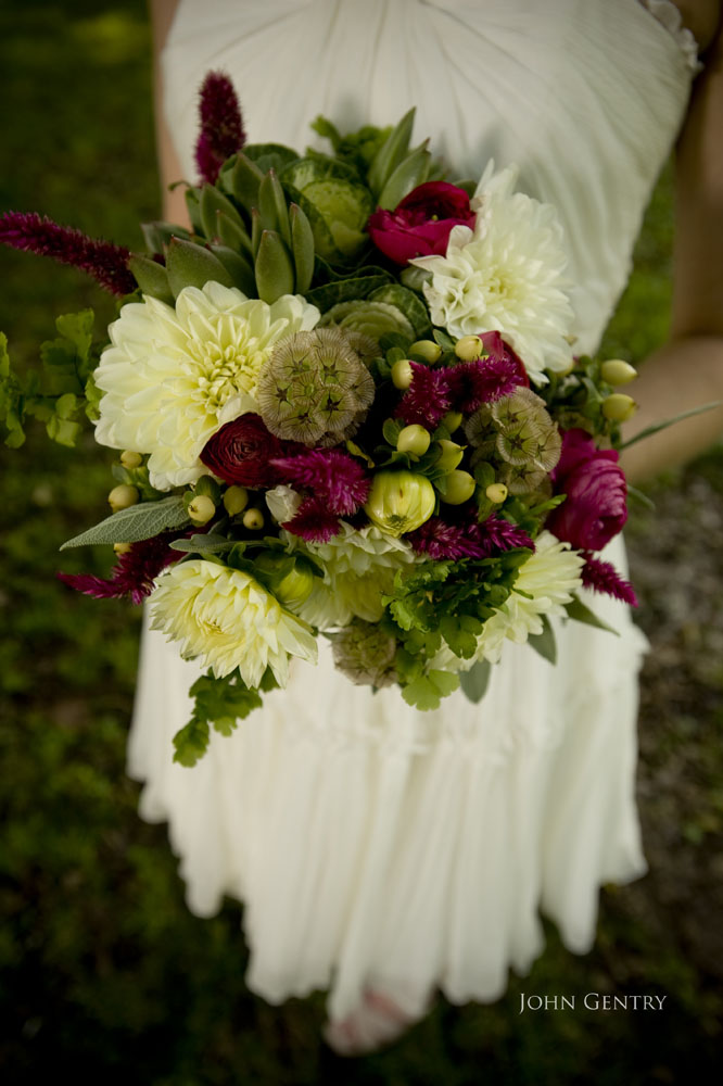 Bridal bouquetWhite dahlias fuschia cockscomb green succulants