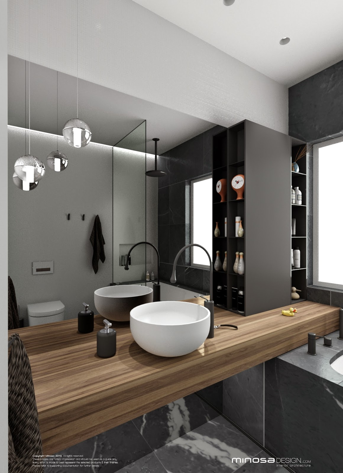 Minosa bathroom design small space feels large for Tiny space bathrooms