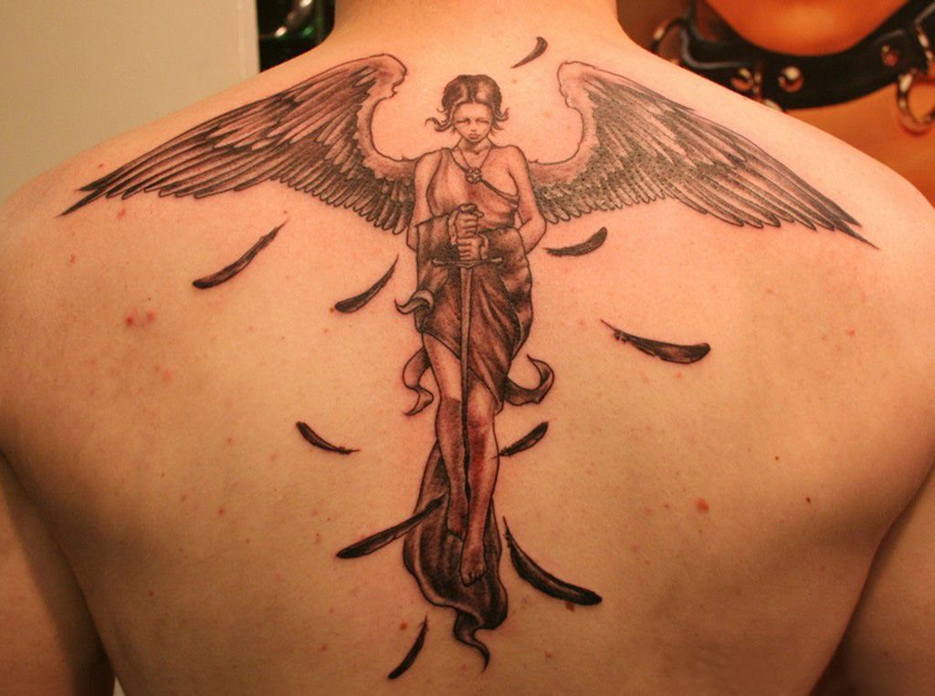 best tatto female angel tattoo on his back. Black Bedroom Furniture Sets. Home Design Ideas