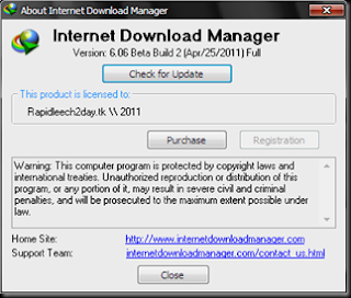 Picture showing Registered IDM IDM 6.06 Beta Build 2