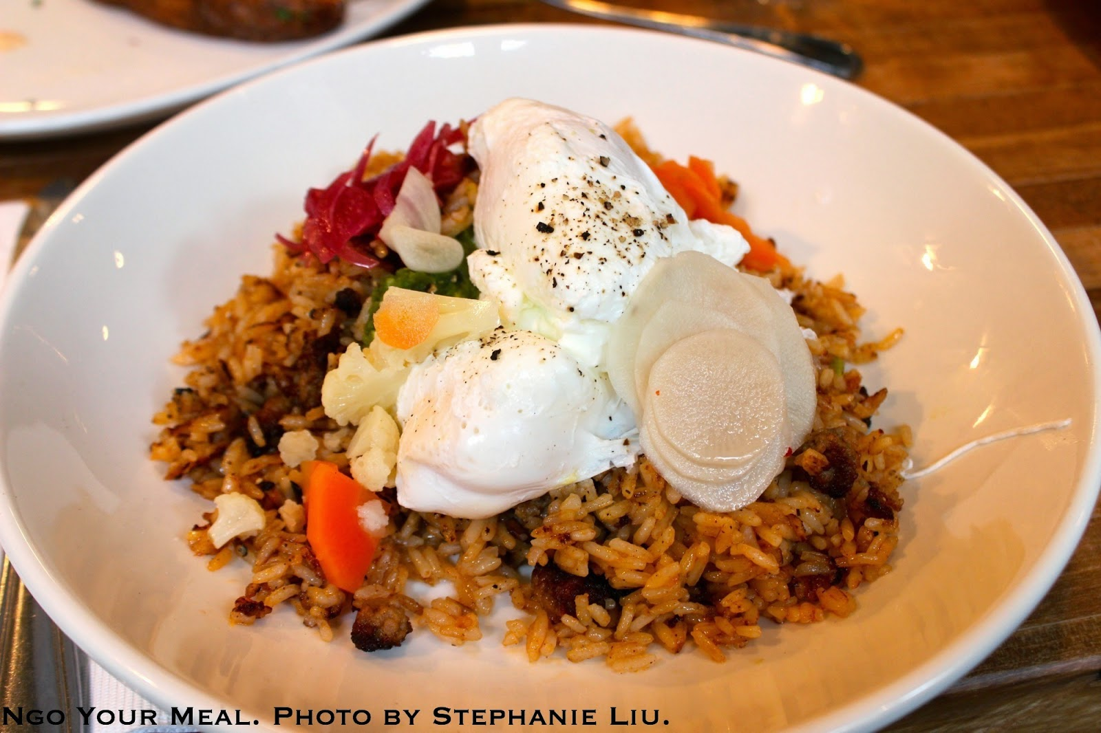Southern Fried Rice with Spicy Sausage, Pickles, Poached Egg