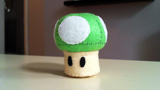 How to Make a Super Mario 1 Up Mushroom plushie from felt tutorial