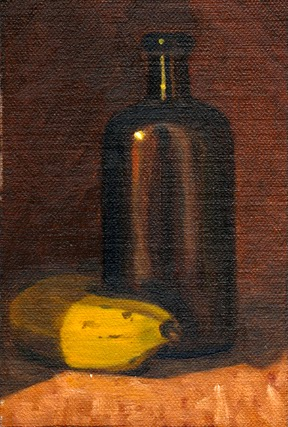Oil painting of a banana and a brown antique medicine bottle.