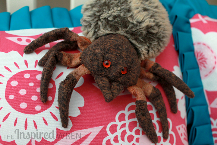The stuffed spider approves! | Custom Bedding: Decorative Shams & Bolsters with Jann Newton | A Craftsy Class Review on The Inspired Wren