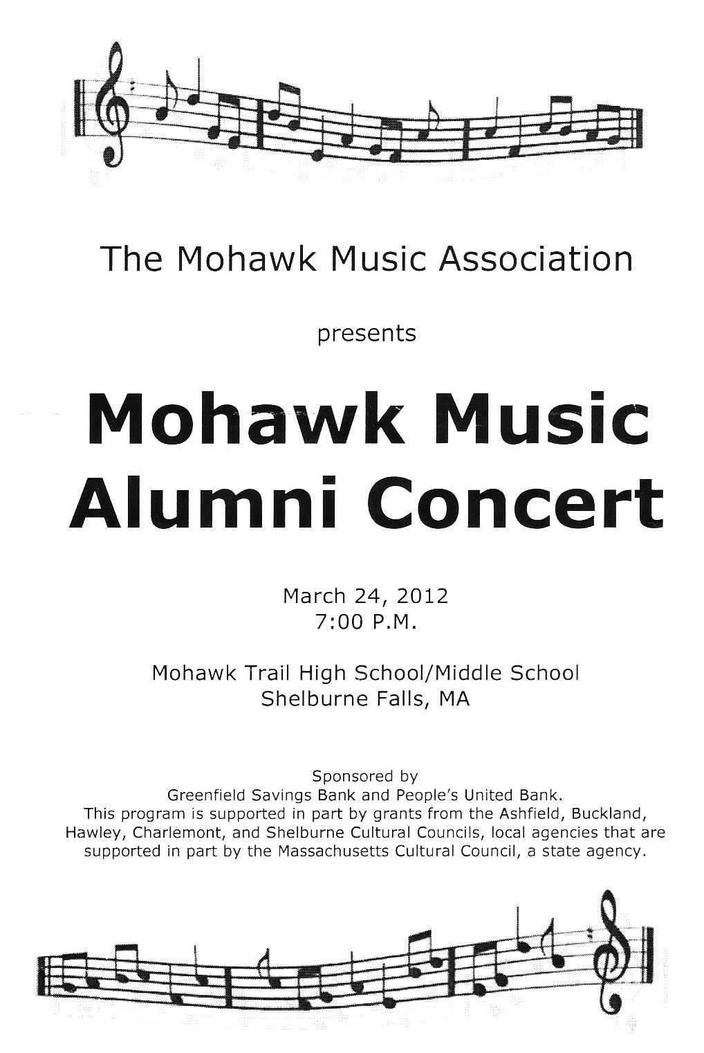 Mohawk Music Association Mohawk Music Alumni Concert Program – Concert Program