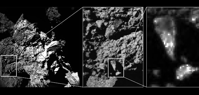 Zooming in to a portion of the fractured cliff face imaged by CIVA camera 4 reveals brightness variations in the comet's surface properties down to centimetre and millimetre scales. The dominant constituents are very dark conglomerates, likely made of organics. The brighter spots could represent mineral grains, perhaps even pointing to ice-rich materials.  The left hand image shows one of the CONSERT antennas in the foreground, which seems to be in contact with the nucleus. The dimensions of the antenna, 5 mm in diameter and 693 mm long, help to provide a scale to the image. Credit: ESA/Rosetta/Philae/CIVA