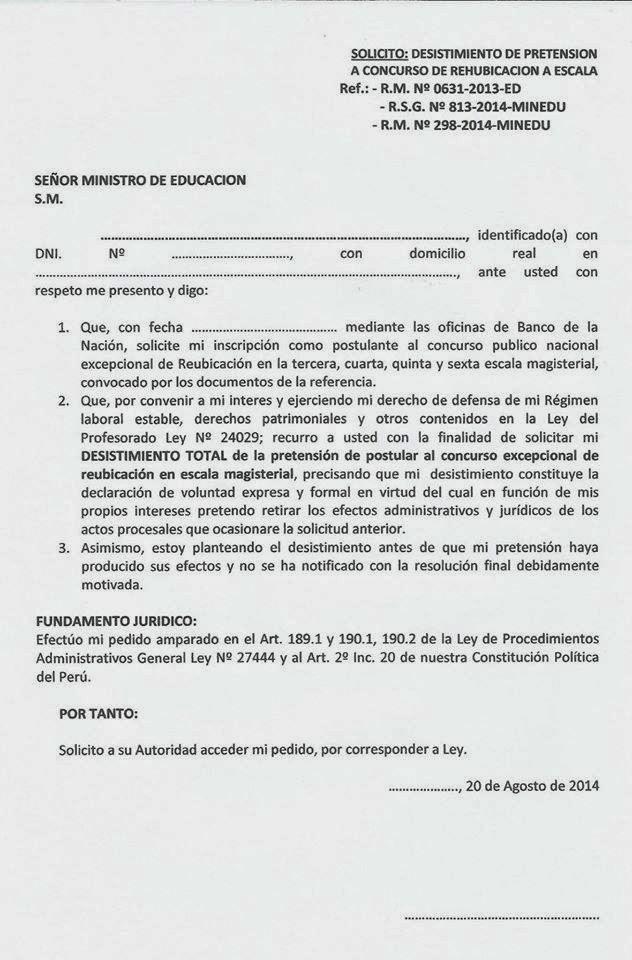 MODELO DE SOLICITUD DE DESISTIMIENTO EN RECHAZO AL ENGAÑO DE EVALUACIONES