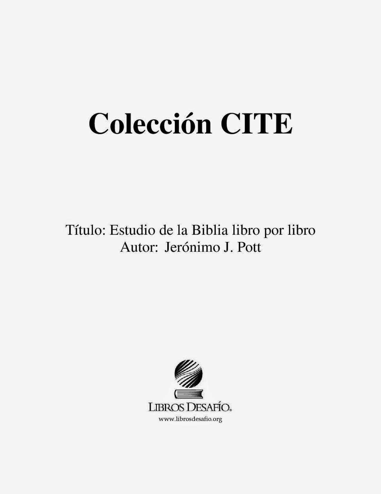 Jerónimo J. Pott-Estudio De La Biblia Libro Por Libro-