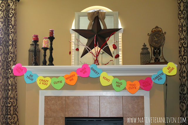 Easy Conversation Heart Banner & Yarn wrapped twigs for an easy Valentine mantel DIY