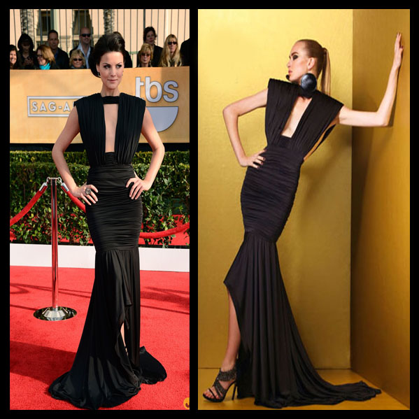 a filha do chefe Jaimie Alexander Mac Bouwer vestido preto SAG Awards 2013