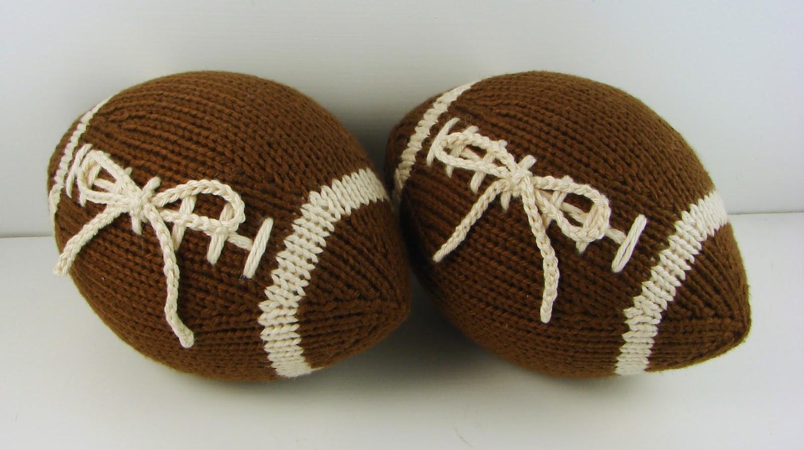 Hand Knit Football Stuffed Ring Bearer Pillow