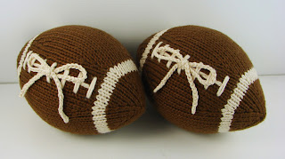 hand knit football stuffed ring bearer pillow