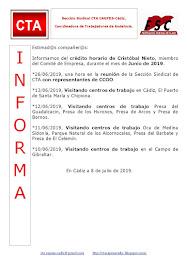 C.T.A. INFORMA CRÉDITO HORARIO CRISTOBAL NIETO, JUNIO 2019