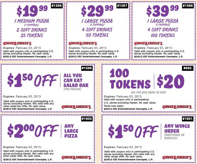 chuck e cheese coupons discounts
