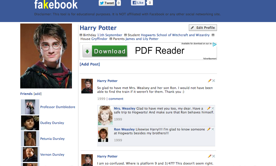 Heres A Fakebook Page For Harry Potter See The Conversations With His New Friends Hermione And Ron