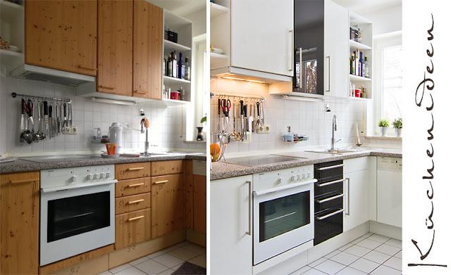 Der Austausch von Fronten in der Küche lohnt - hier ein Beispiel für den Frontentausch von Holzfronten in Hochglanzfronten weiss und schwarz.