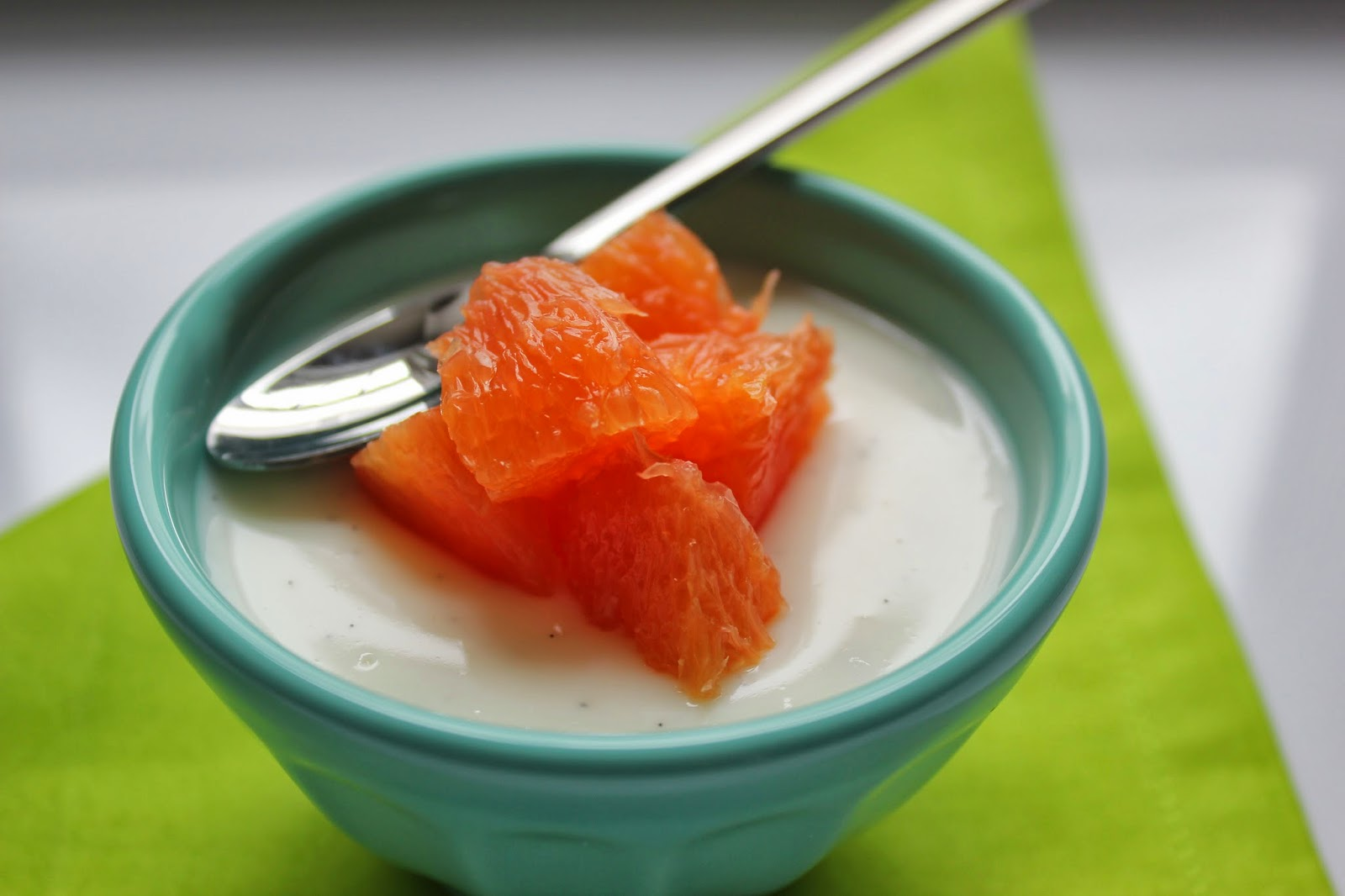 yogurt panna cotta with Cara Cara orange segments
