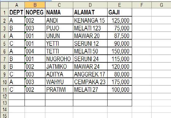 Contoh Tabel Database Tabel 25 Database-1