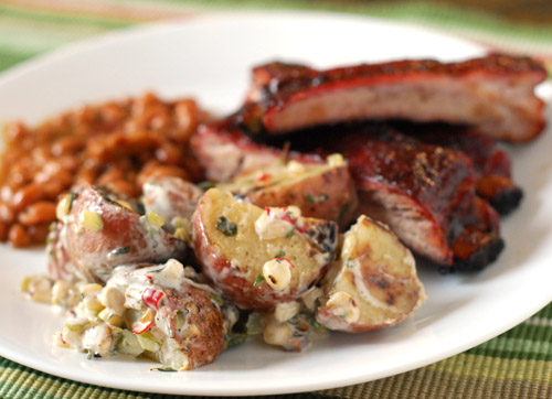 grilled potato salad, bbq plate