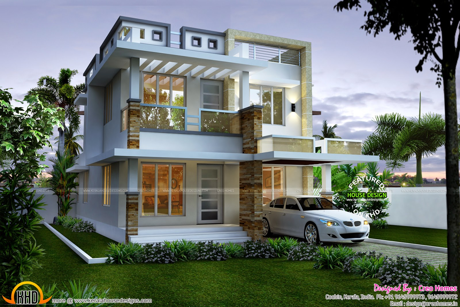Contemporary Mix Villa Design Part - 21: 1727 Sq-ft Modern Contemporary Mix House