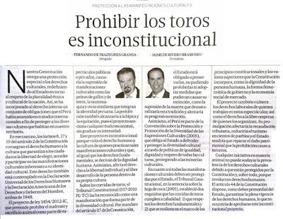 Prohibir los toros es inconstitucional. Diario El Comercio
