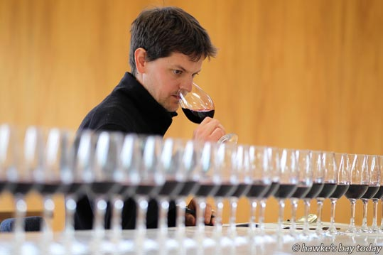 Cairn Coghill, Sileni Estate, Maraekakaho, assistant judge at the Hawke's Bay A&P Bayleys Wine Awards, at EIT Eastern Institute of Technology, Taradale, Napier. photograph
