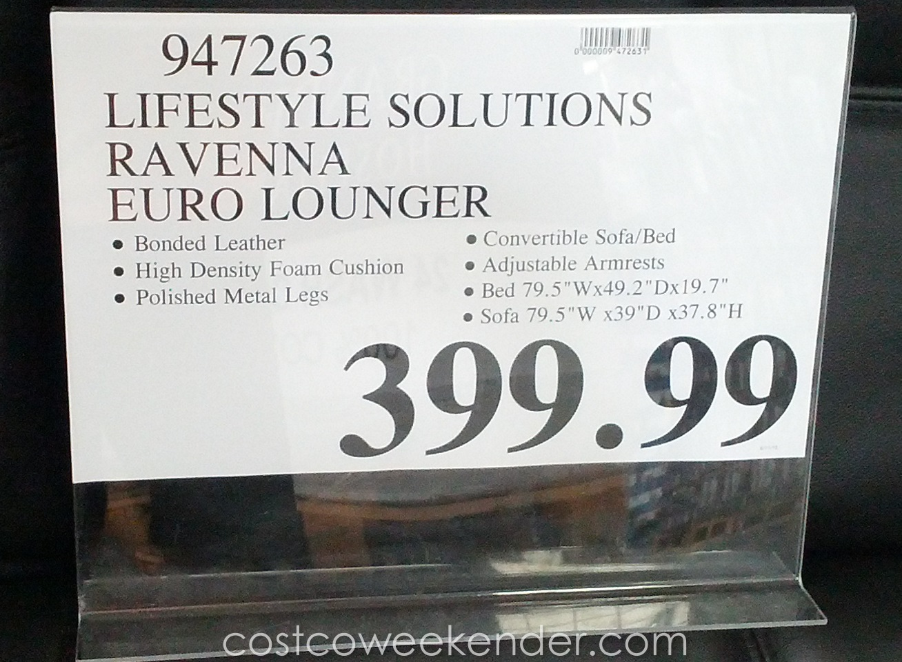 Lifestyle Solutions Ravenna Euro Lounger Costco Weekender