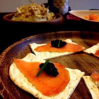 Salmon and caviar canape