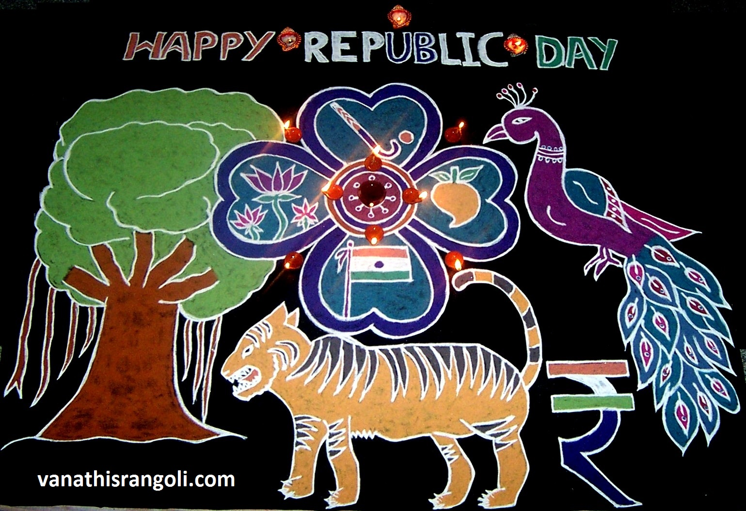 Vanathis rangoliartcrafts indian republic day rangoli indian republic day rangoli national symbols of india free hand design buycottarizona