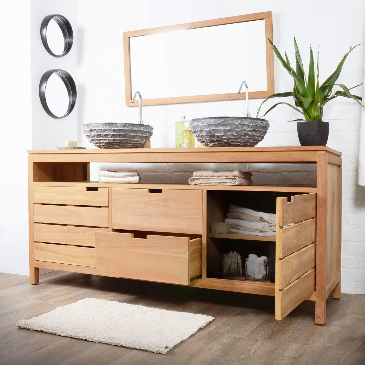 Meuble de salle de bain en bois meuble d coration maison for Salle de bain 06