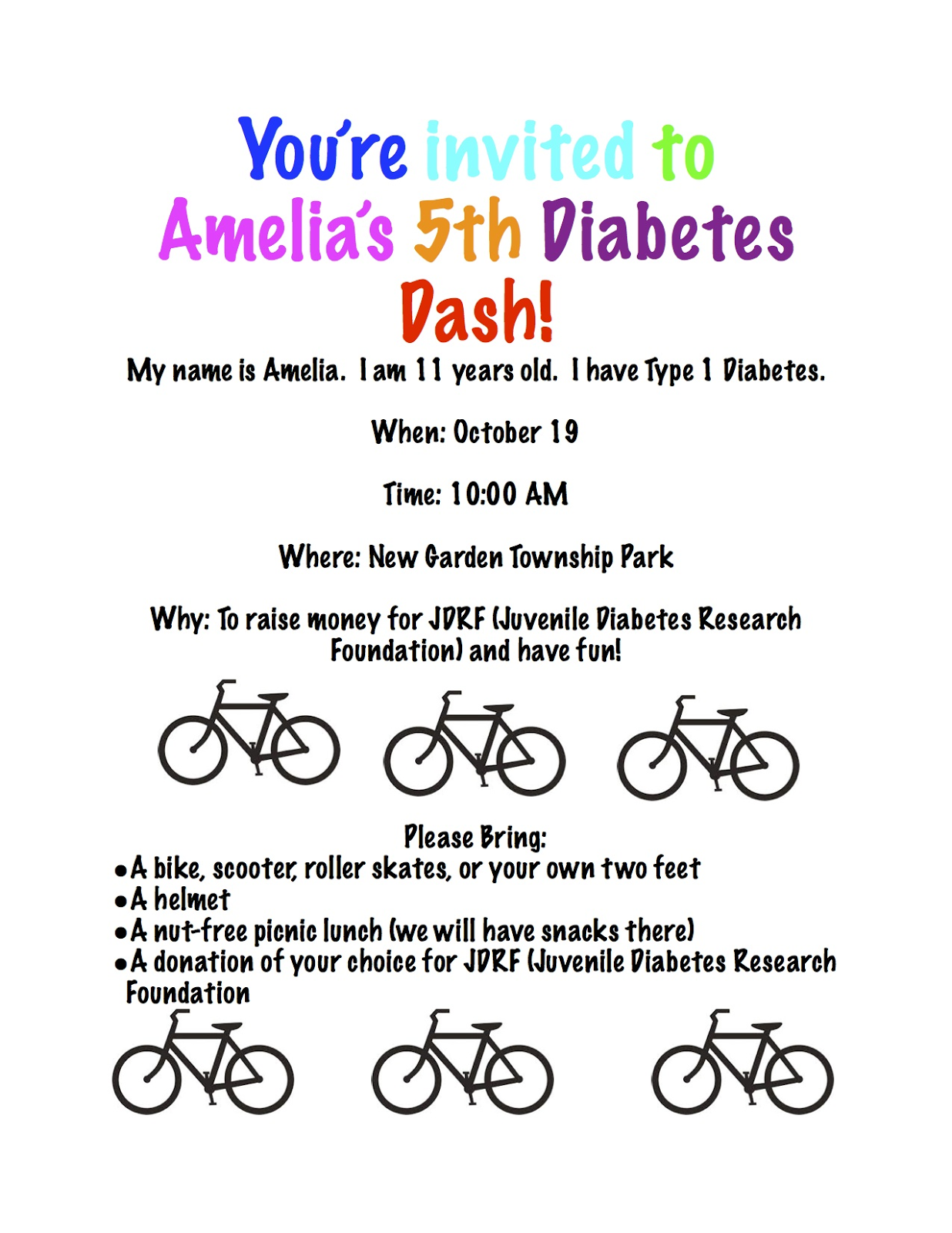 Amelia's 5th Diabetes Dash!