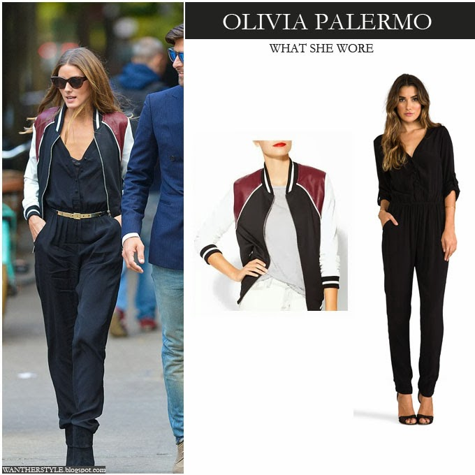 ... what she wore · No comments · Olivia Palermo in black belted jumpsuit  with colorblock bomber varsity jacket Want Her Style Fall Fashion e261c190f2d