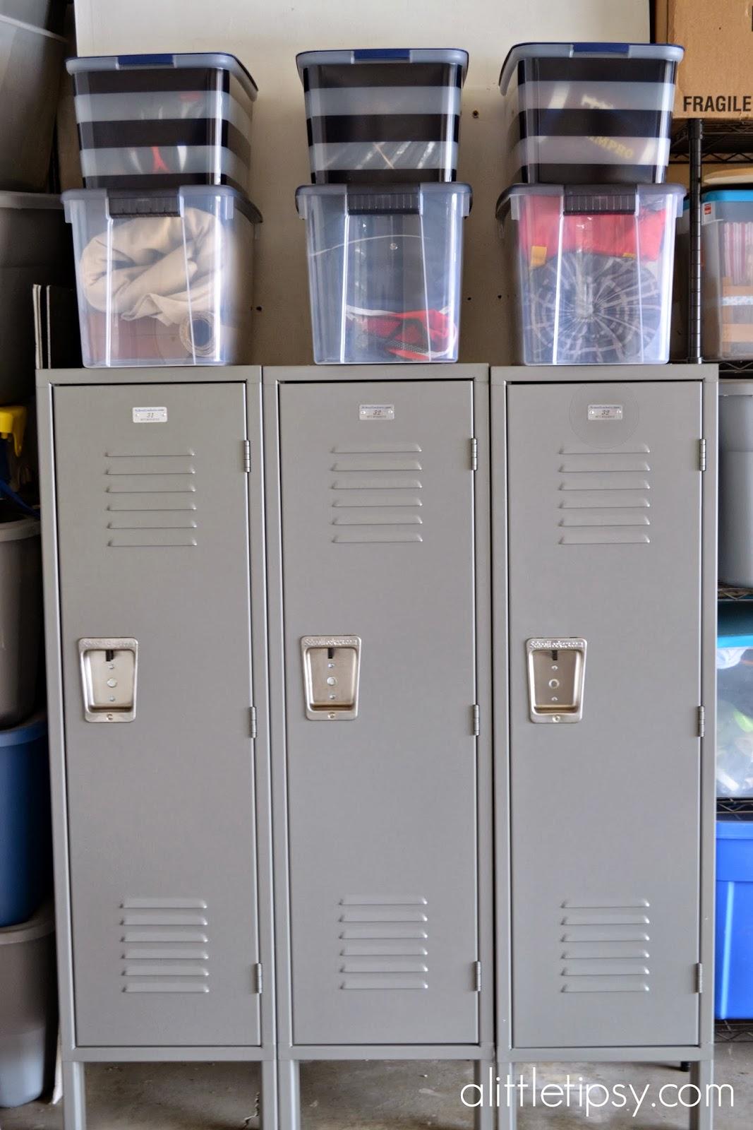 Charming Garage Mud Room With Metal Lockers