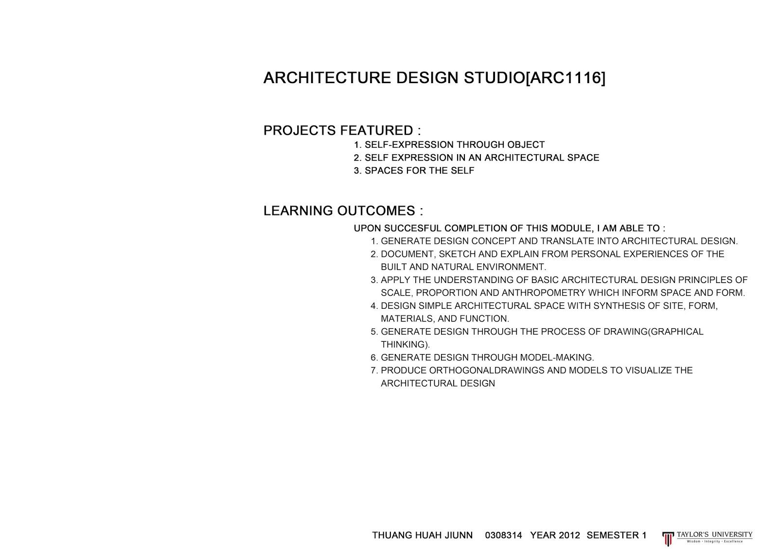 YEAR 1 SEMESTER 1   ARCHITECTURE DESIGN STUDIO 1