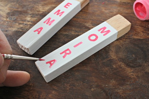 wood key fob painting letters