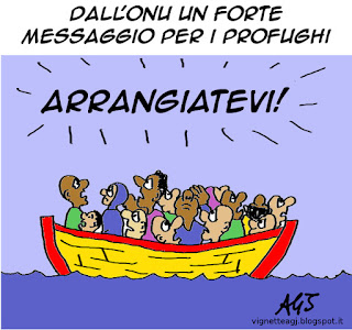 papa francesco, ONU, profughi, satira vignetta