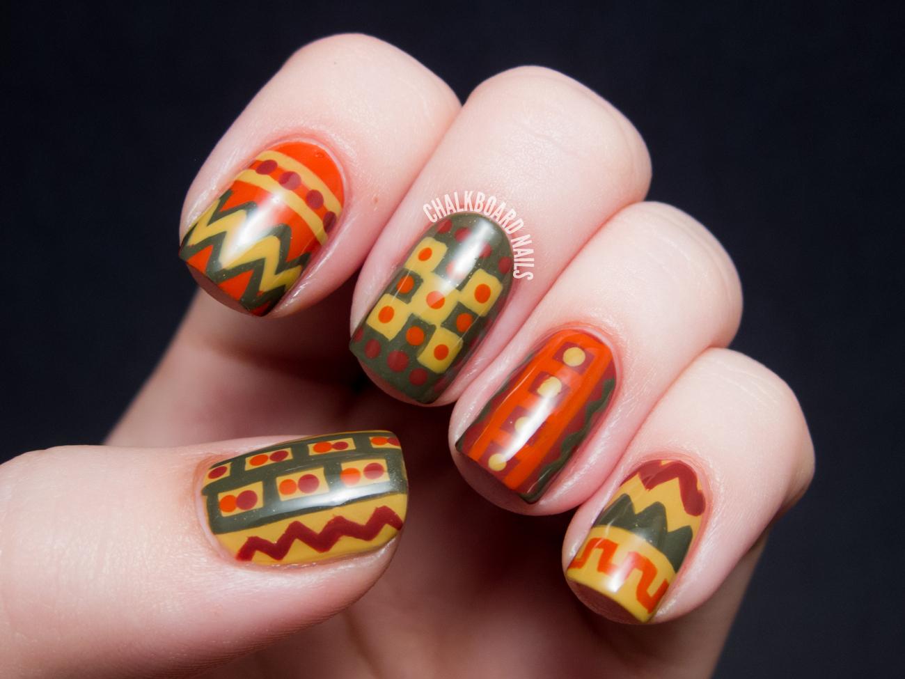 70s crochet chic lcn charade nail art chalkboard nails - Nail art chic ...