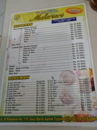harga menu RM mekarsari