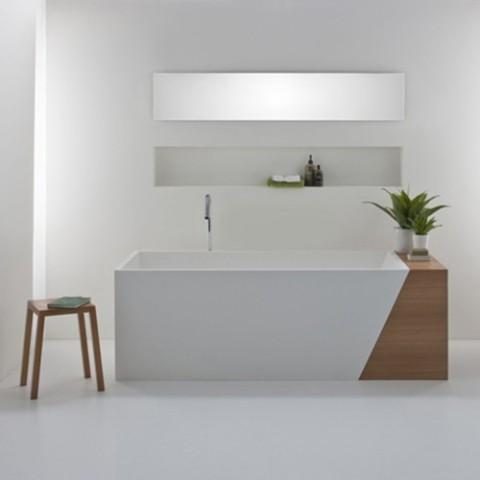Baño blanco minimalista: cuarto de baño con diseño moderno al ...