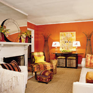 Orange Living Room Walls