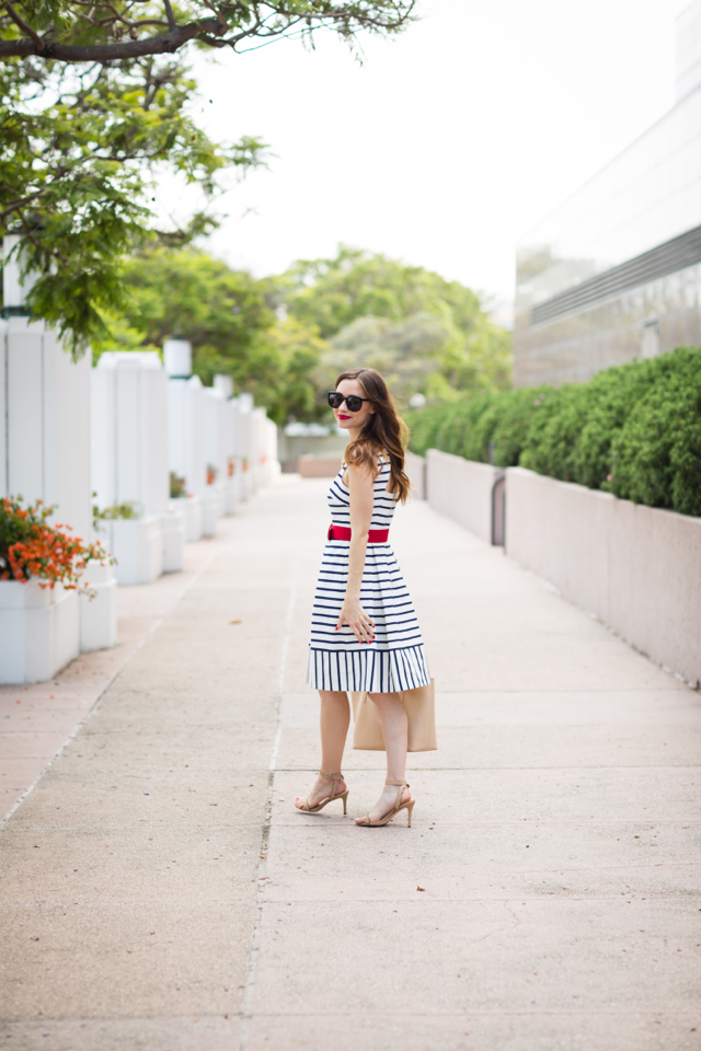 patriotic fourth of july outfit with blue and white striped dress with red belt from nordstrom on M Loves M los angeles fashion blogger @marmar