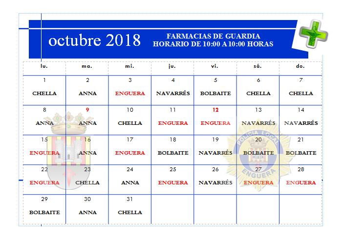 FARMACIAS DE GUARDIA OCTUBRE 2018