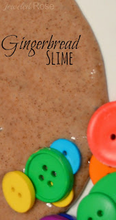 Gingerbread Slime Recipe- this slime smells amazing!  Give kids buttons and they will delight in making super stretchy and delightfully OOZE-Y Gingerbread men