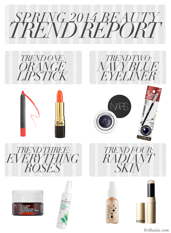 beauty trends for spring, spring 2014 makeup trends, orange lipstick trends, navy blue eyeliner, rose oil, rosehip oil, rosewater, radiant skin, luminizer, what are beauty trends for spring 2014, trend report, hottest spring trends, fashion spring trends