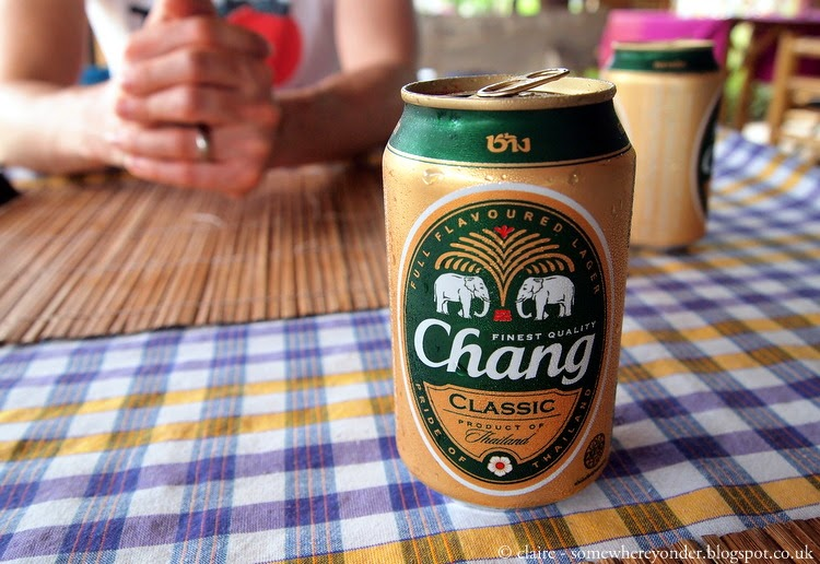 Drinking a cool beer at Mint cafe - Ko Phi Phi village, Thailand