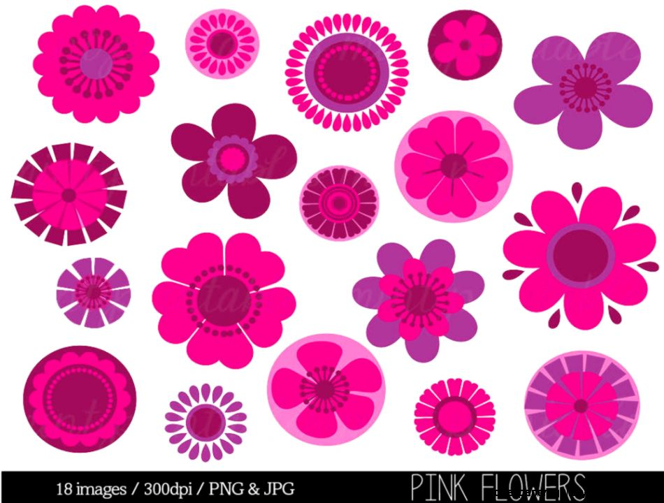Flower Clipart Clip Art Pink Flowers Clipart by mintprintables