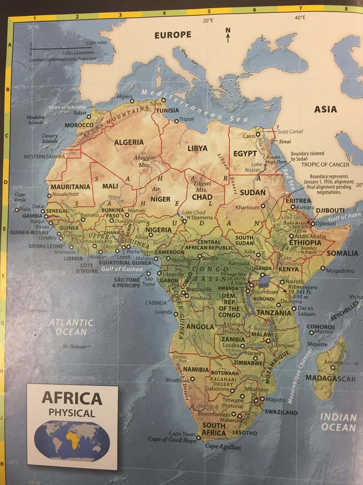 follow the instructions to create your physical political sketch map of africa