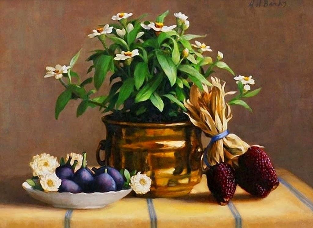 jarrones-con-flores-pintura-realista