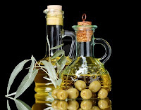 Olives, Olive oil in bottles