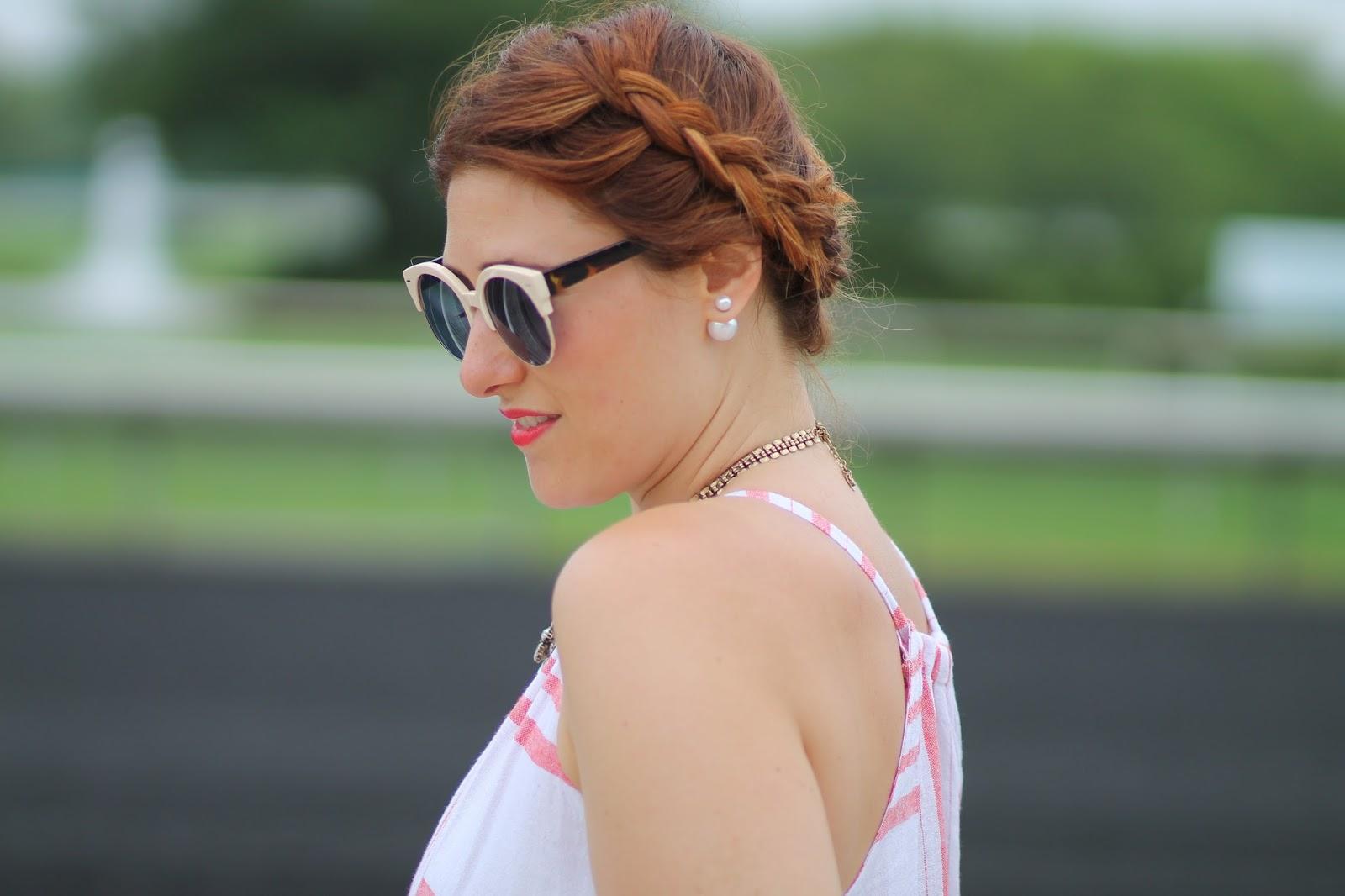 braid, double, sided, pearl, earrings